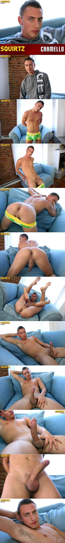 Carmello strokes his fat uncut cock