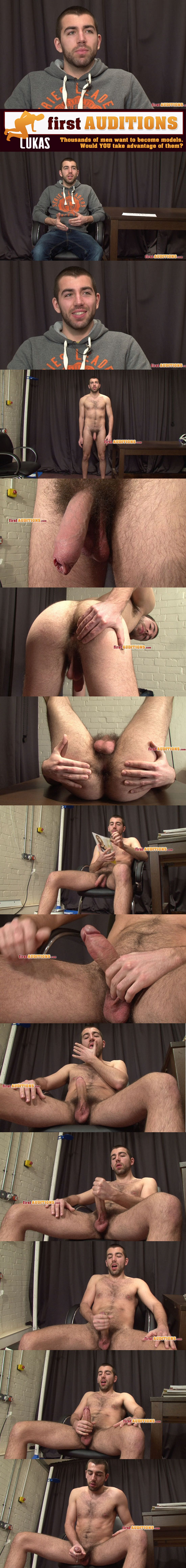 Lukas jerks his uncut cock during his porn audition